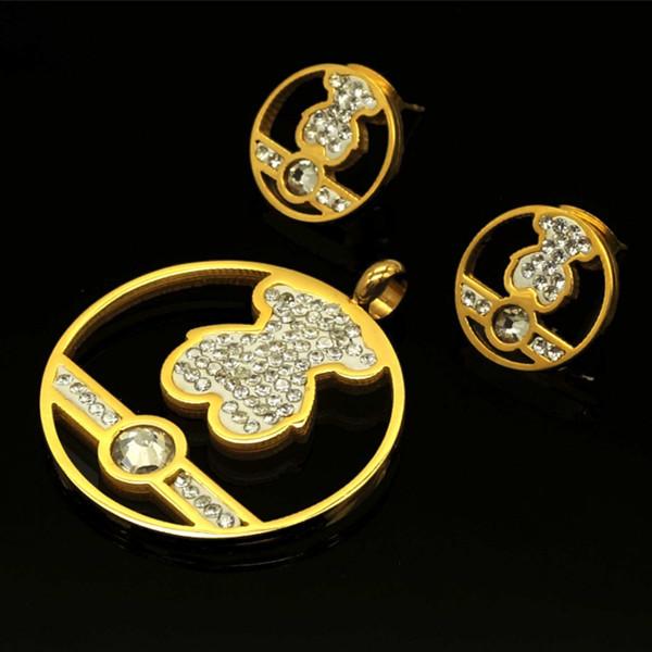 Z888 Pendant & Earring Gold Crystal Bear Set Stainless Steel Mini Love Heart Bear Wholesale Price Neckace Jewelry Set(China (Mainland))