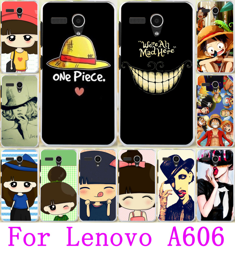 Painted for Lenovo A606 Cute Little Girl Yellow Little Hat Hard Protector Plastic Case Cover For Lenovo A606 Cell Phone Cases(China (Mainland))