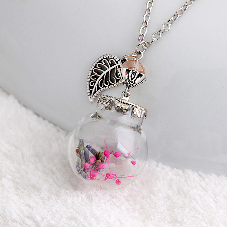 6 Color Flower Terrarium Glass Bottle Necklace Tree charm and crystal silver chain necklace woodland necklace(China (Mainland))