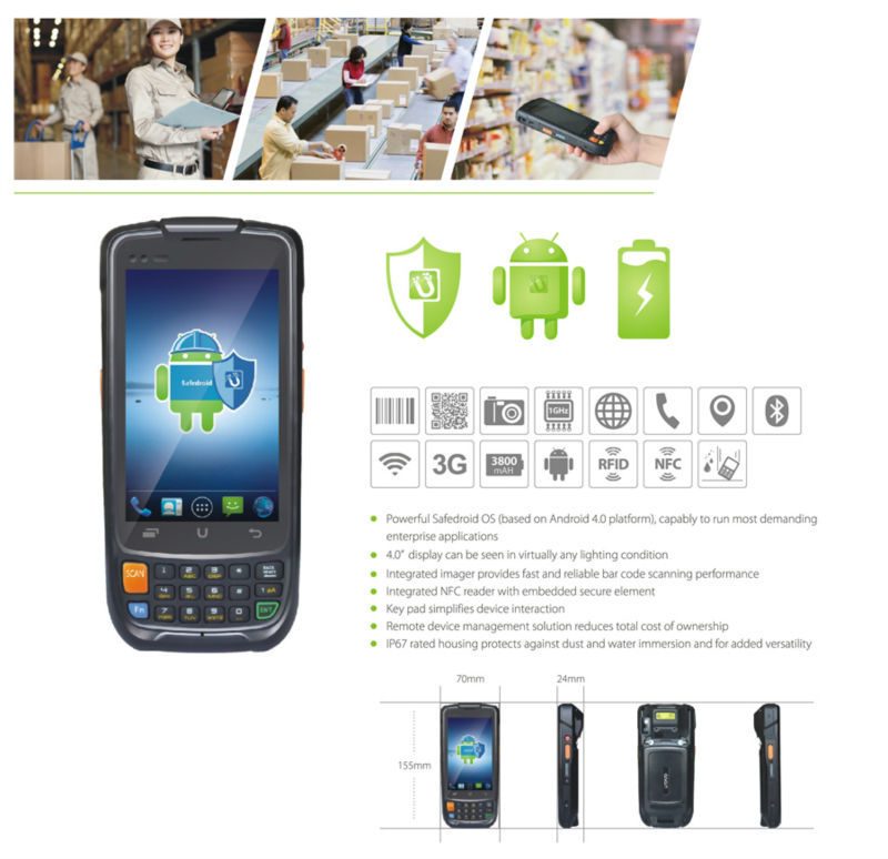 China Best Quality Android industry PDA Terminal 3G GPRS WIFI GPS Quad Core PDA Android Handheld Barcode Scanner(China (Mainland))