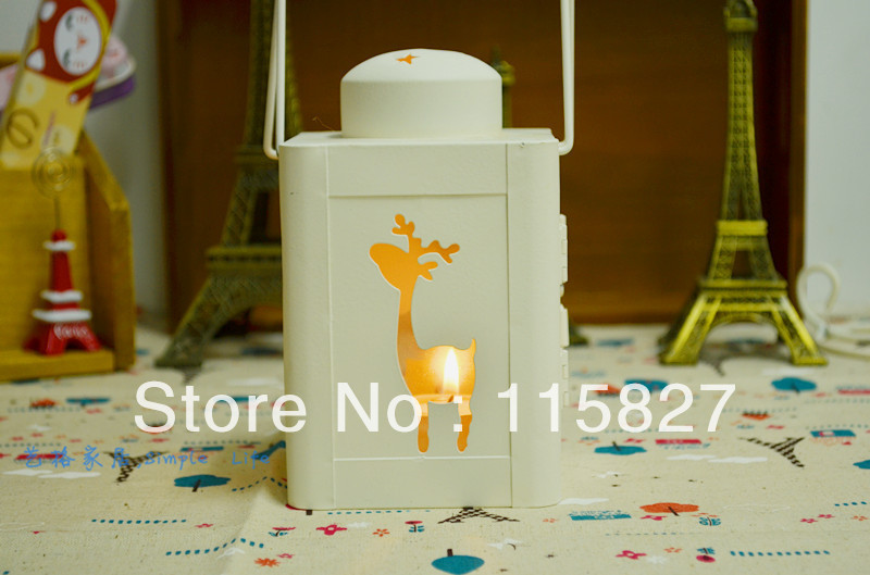 2013 New Christmas lantern Metal Candle Holder Christmas Deer design House decoration Christmas Gift and Decoration(China (Mainland))
