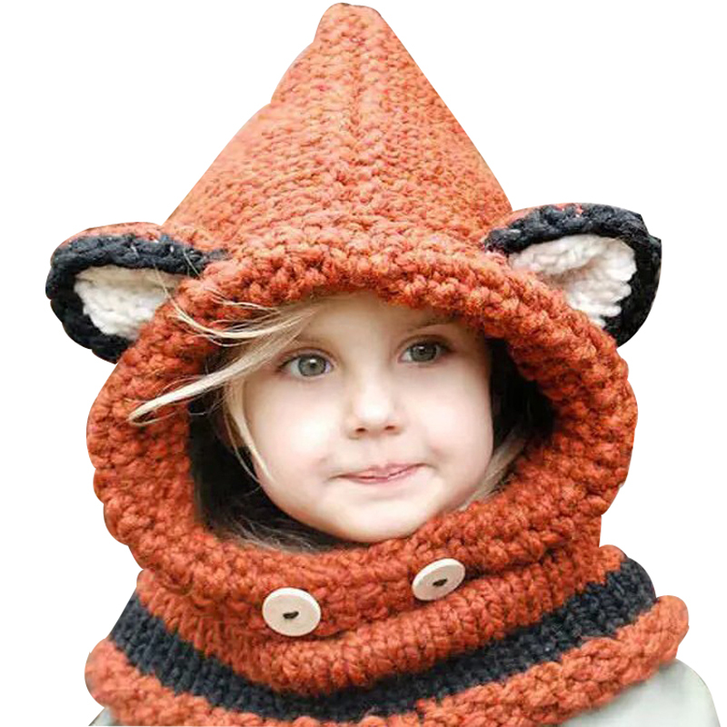 2015 New Design Fox Ear Winter Windproof Hats And Scarf Set For Kids Boys Girls Free Shipping(China (Mainland))