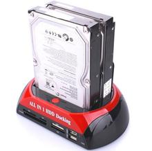 Все в 1 2.5 » 3.5 » двойной USB 2.0 SATA IDE HDD док-станция Hub картовод OTG внешние накопители корпус бесплатная доставка