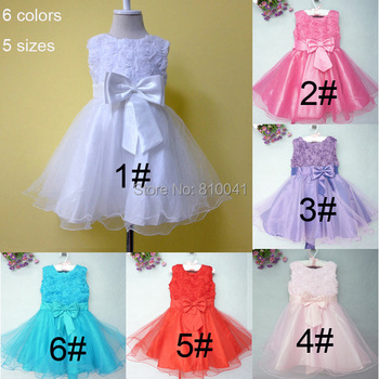 Toddler Pageant Dresses Kids Prom Party Dress Red Blue Puple White  9M-4T