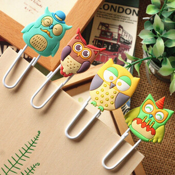 6pcs/lot Cute Creative Owl Family design Metal Paper clip/DIY Multifunction Bookmark Office & School Supplies Free shipping(China (Mainland))