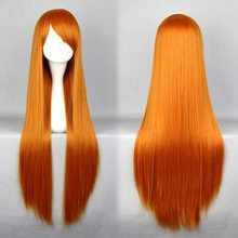 Free Shipping Cosplay Eva Asuka Beautiful Heat Resistant Synthetic Long Orange Red Wig(China (Mainland))