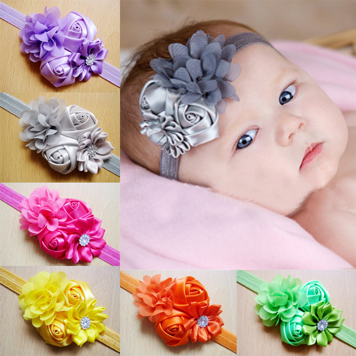 Free Shipping 10pcs/lot 2015 fashion hairband with sunflower chiffon flower baby headbands infant photography hair accessories(China (Mainland))