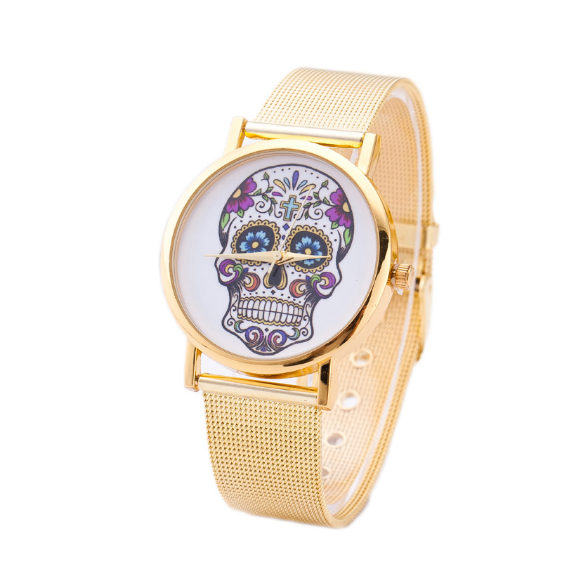 Relogio Mujer New Arrival Women Punk Skull Gold Belt Quartz Watch Stainless Steel Wrist Watch New Fashion Casual Watch Women<br><br>Aliexpress