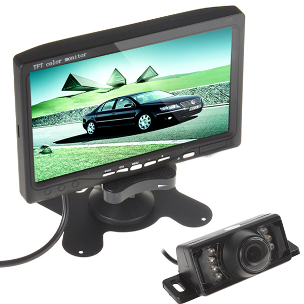 Sale! 7 Inch TFT LCD Color Display Screen Car Rear View DVD VCR Monitor + 7 IR LED Lights Night Vision Rearview Reversing Camera(China (Mainland))