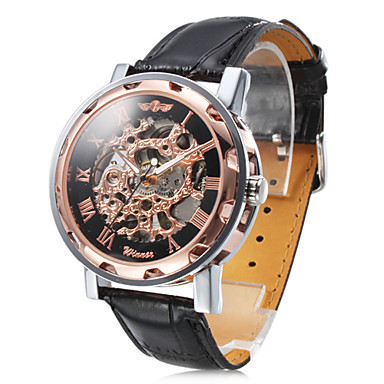 famous retro vintage brand watch leather stainless steel band case skeleton hollow self hand wind mechanical wrist relogio - TimeCity Store store