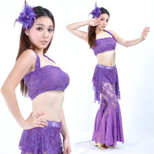 Bellyqueen 10 lace set lace belly dance set slim sexy hip skirt mini trousers transparent  Free Shipping