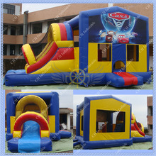 HOT Cars  Inflatable Bouncy Slide Combo for your rental business/Commercial Quality Bouncy Castle(China (Mainland))