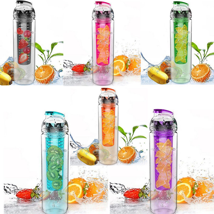 2015 Hot 700ml Cycling Sport Fruit Infusing Infuser Water Lemon Cup Juice Bicycle Health Eco-Friendly BPA Detox Bottle Flip Lid