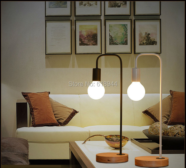 Фотография Freeshipping Modern Wood and Metal Table Lamps for Office Desk Bedroom Lampe Deco Bedside Lamp Modern Study Room Lamp