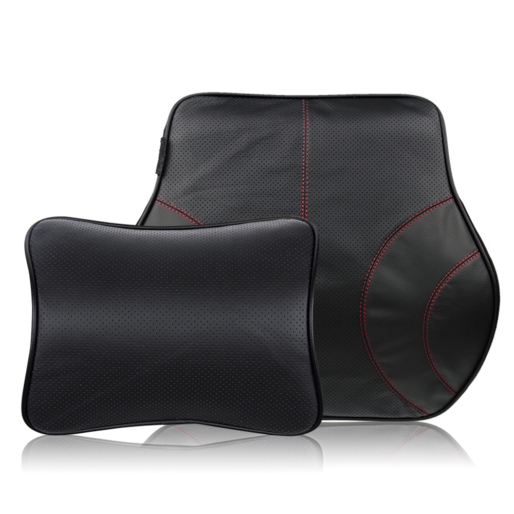 car covers car pillow lumbar back support cushion genuine cowhide leather memory foam car. Black Bedroom Furniture Sets. Home Design Ideas