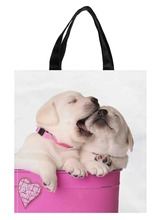 Cute Valentine Puppy Dog Pet Pink Container Heart Print Nylon Oxford Reusable Shopping Bag Gift Foldable Bag Eco Bag Pack of 2(China (Mainland))