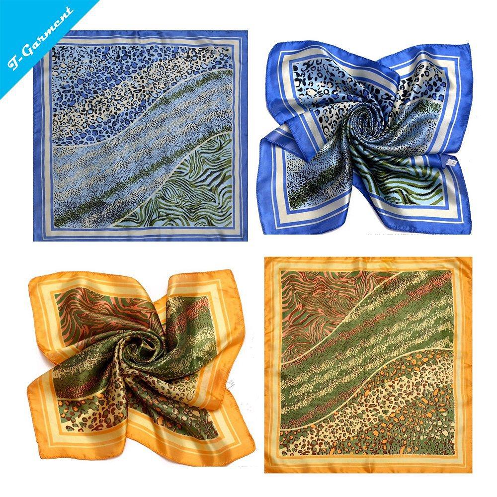 50*50cm 100% REAL SILK Summer Style Women Print Blue Yellow Square Scarf Wrap shawl bandana hijab cachecol feminino ZS64(China (Mainland))