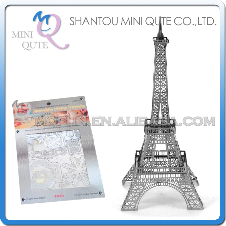 Mini Qute 3D Metal Puzzle Eiffel Tower world architecture famous building Adult kids model educational toys gift NO.ZY105(China (Mainland))