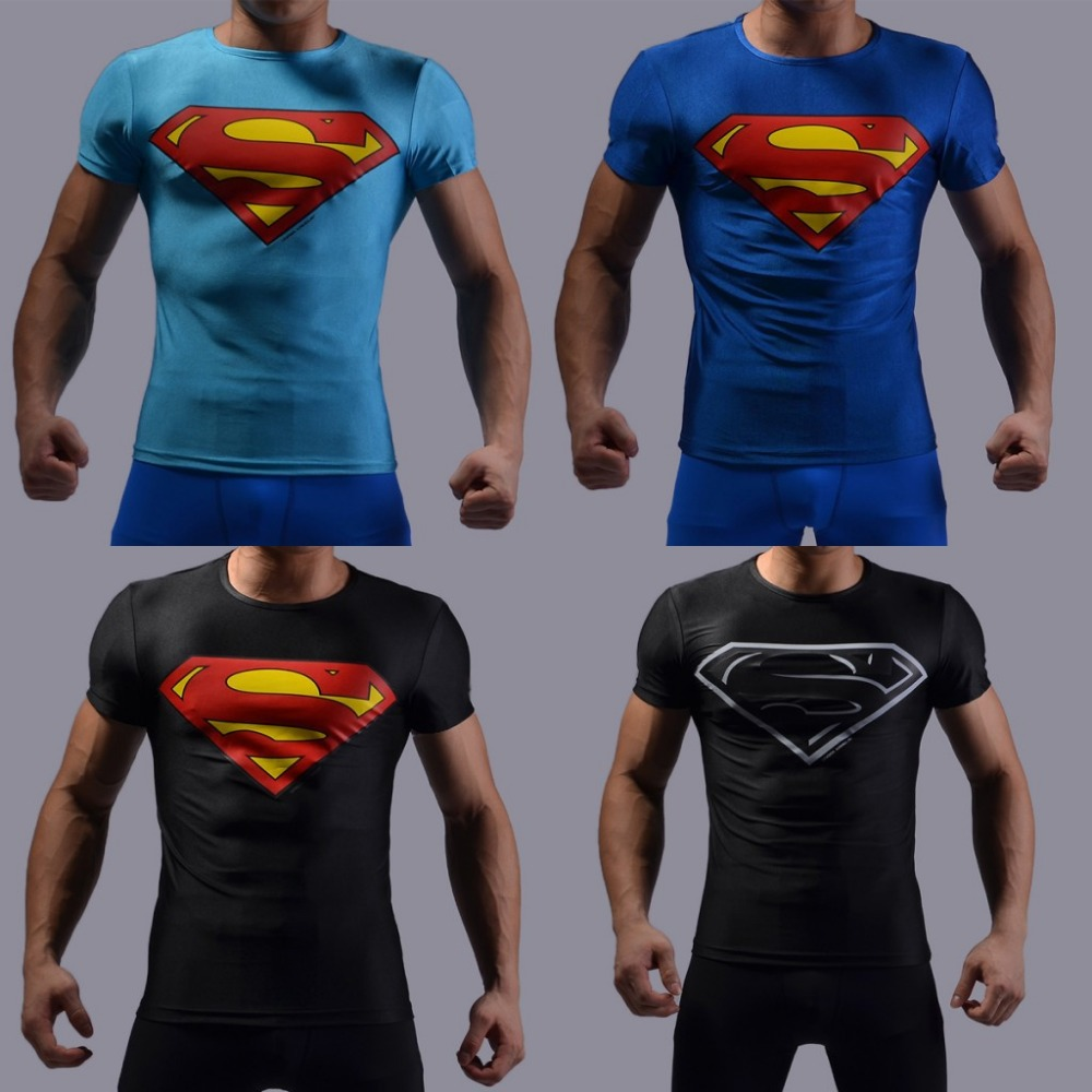 Free shipping 2015 new compressed 3D t shirt hot superman/batman t shirt men sports quick dry fitness clothing Captain America(China (Mainland))