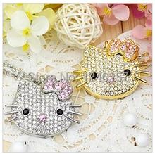 Garunk usb flash drive 4G/8G/16G Kitty Crystal Rhinestone Jewelry u disk pen drive USB2.0 Flash Memory stick Drive free shipping(China (Mainland))