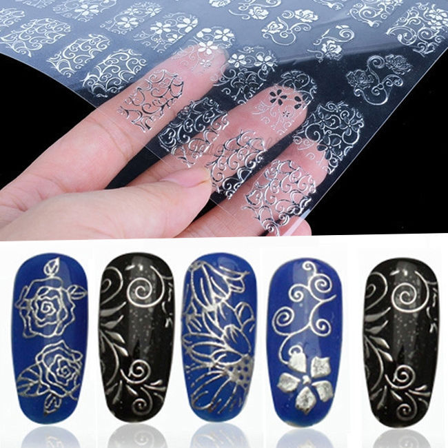 High Quality Floral Design Silver Gold DIY 3D Nail Art Stickers Decals Manicure Decoration Beautiful Fashion