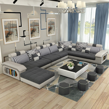 luxury living room furniture modern U shaped fabric corner sectional sofa set design couches for living room(China (Mainland))