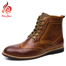 2015 Fashion Men's Martin Boots British Style Brogue Boots Shoes Men Oxford Shoes for Men Genuine Leather Boots Size:38-45 M1702(China (Mainland))
