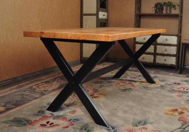 Simple de tablas de madera de encargo hierro forjado mesa for Mesas de hierro forjado