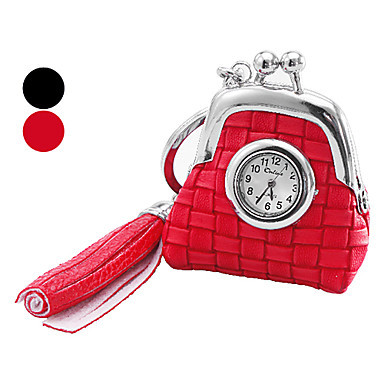 Womens and Girls Bag Pattern Leather Pocket Watches Analog Keychain Watch (Assorted Colors)<br><br>Aliexpress