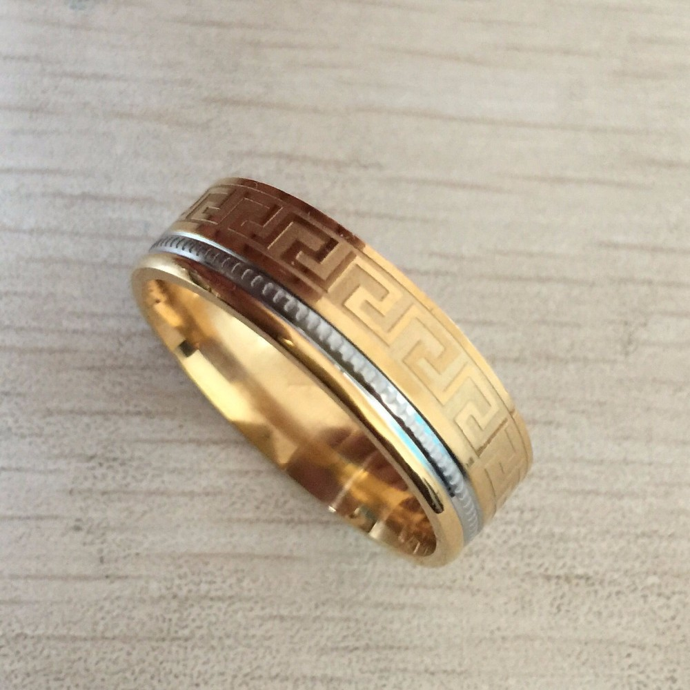 Square Fashion Accessories Simple Two Colors Golden And Sliver Great Wall Men Male Ring Titanium 316L Stainless Steel Rings(China (Mainland))