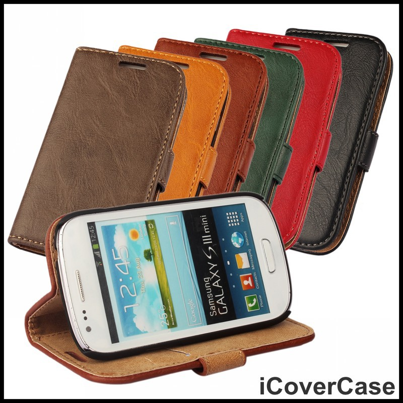 For Galaxy S3 Mini i8190 Phone Case Card Holder Wrinkle PU Leather Wallet For Samsung Mini i8190 Mobile Cover(China (Mainland))