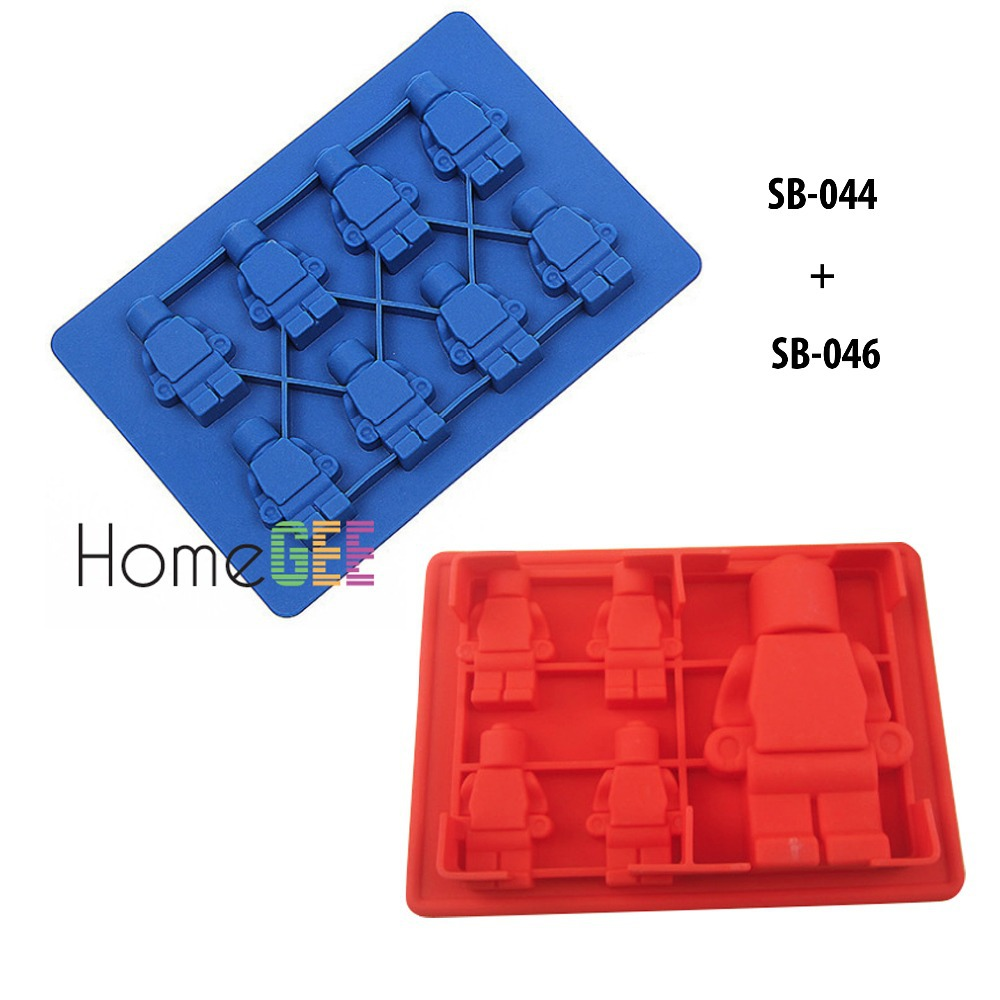 2 pieces/lot silicone mold chocolate mold Ice Cube Tray DIY baking tools Robot shaped(China (Mainland))