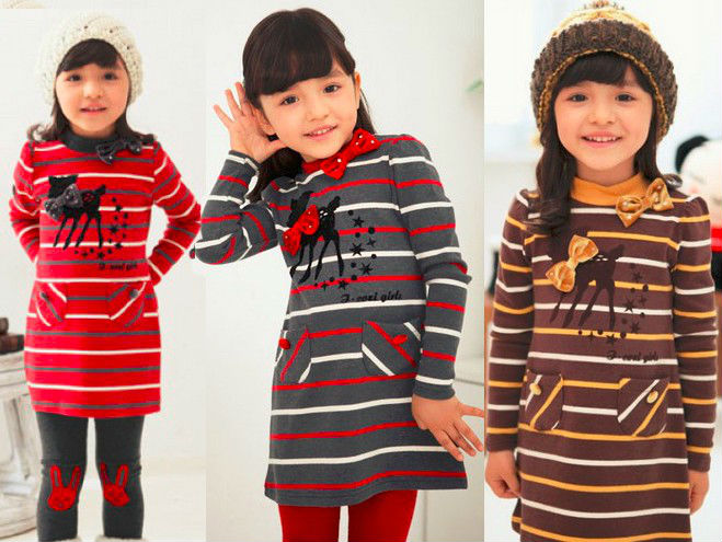 Free shipping 2014 new fashion lovely deer Cotton striped girls 2pc set ,girl long tops with leggings Children 2pc Casual suit(China (Mainland))