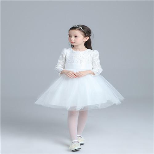 Princess tutu dresses 2016 charm White Girl Party Wedding big boe Dresses Little Girl Elegant Easter Baptism Costume(China (Mainland))