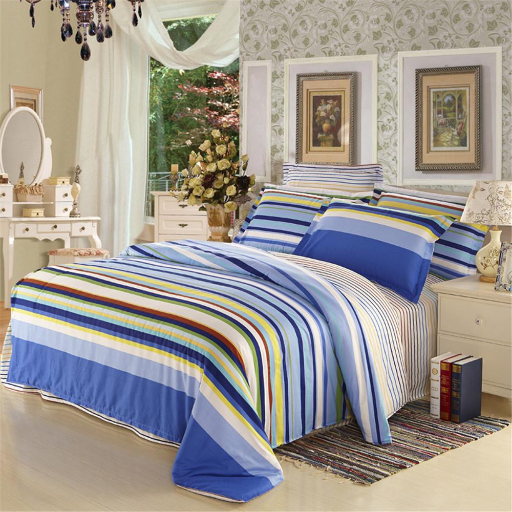 Фотография Color stripe boy Bedding Sets 4pc No Comforter, 128x68 Cotton 100% Kids Duvet Cover, Queen Size Princess Bedlinen