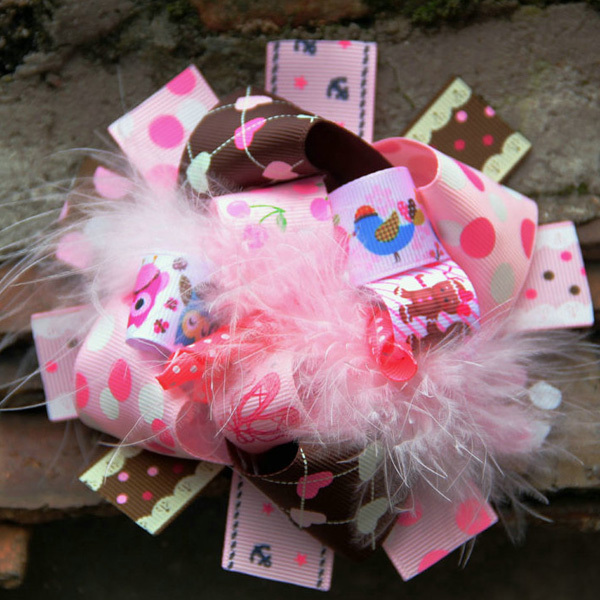 Free shipping wholesale 100pcs/lot Bear print stacked bow,Infant Pink Feather Loopy Flower Hair bow.hair clips3 022/5067(China (Mainland))