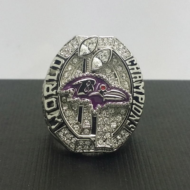 NFL 2012 Baltimore Ravens Football Super Bowl World Championship Ring 11Size 'Flacco' Fans Solid Back Gift Collection(China (Mainland))