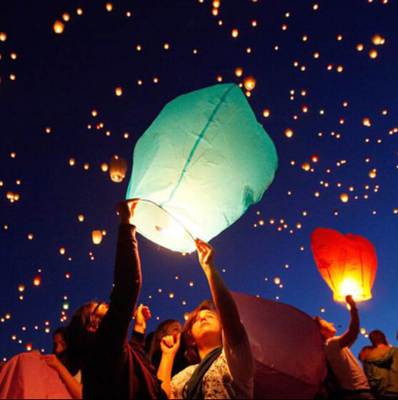 100PCS By FEDEX Chinese Fire Sky Lanterns Romantic Christmas Wedding Party Flying Paper Chinese Wishing Lamp Air Balloon(China (Mainland))