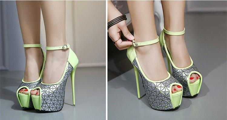 Size 4~9 Peep Toe Autumn Women Shoes New 16cm High Heels Shoes 2016 Platform Women Pumps zapatos mujer (Check Foot Length)
