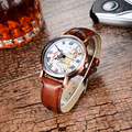 Lover s Stylish Antique Bronze Textured Leather Band Quartz Watches Simple Black Red Brown Mini World
