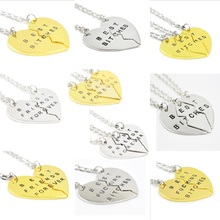 Buy New Style Sweater Chain Broken Heart 3pcs/set Best Bitches Best Friends Forever Necklace Lovers Friends Women Gift for $1.25 in AliExpress store