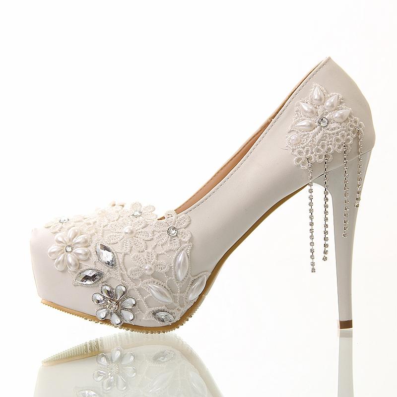 Wedding shoes white lace tassel ultra high heels bridal shoes single