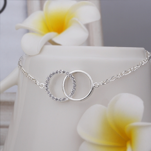 SA005 New Arrival 925 Sterling Silver Crystal Circle Foot Bracelet Sexy Anklets For Women Barefoot Sandals