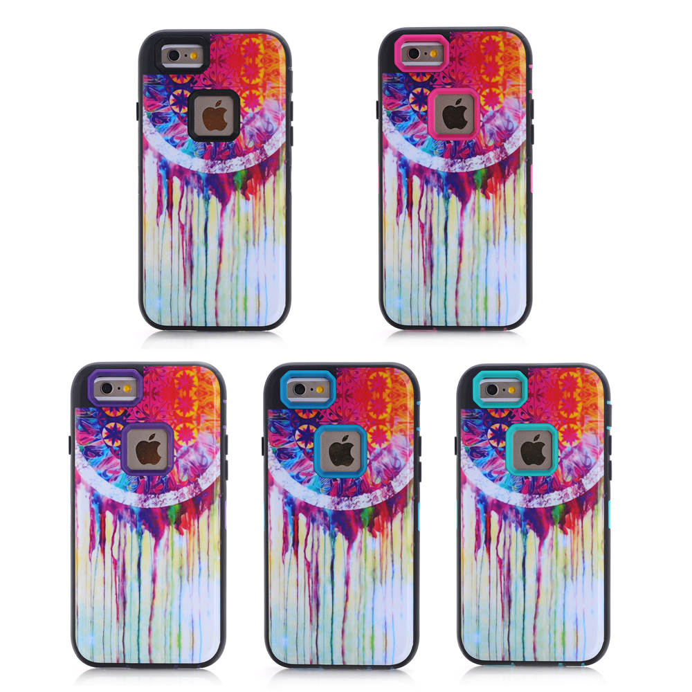 For Apple iPhone 6 6S Case Dreamcatcher Design Case 3in1 High Impact Heavy Duty Hard Rugged Rubber Case Cover For iphone6S(China (Mainland))
