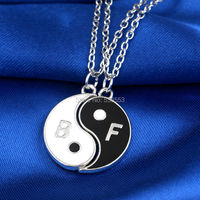 New Arrival Wholesales Price Best Friends Necklace Alloy Enamel Tai Chi Necklaces Eight Diagrams Shape Letters B&F Pendant