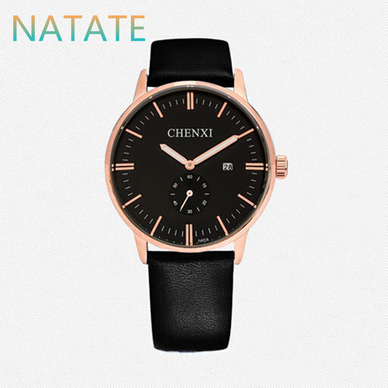 NATATE Men Quartz Business Watches Luxury Brand CHENXI Clock Leather Strap Watch Waterproof The calendar wristwatch 1040