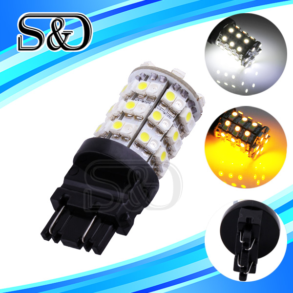 2pcs p27 7w 3157 led bulb Amber / Yellow White 60 SMD LED Car Light Stop Lamp 12V car bulbs rear brake Lights car styling D009(China (Mainland))