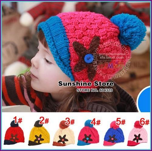 Starfish baby 2015 hat,brim balls baby winter beanies, toddler cap children gorro nina  fotografia  #2C2676  5 pcs/lot(6 colors)