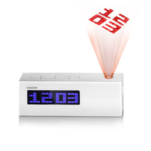 Digital LCD Alarm Clock with FM Radio Functional Table Clock Projection Clock with Temperature Date Time Display 12h/24h Display(China (Mainland))