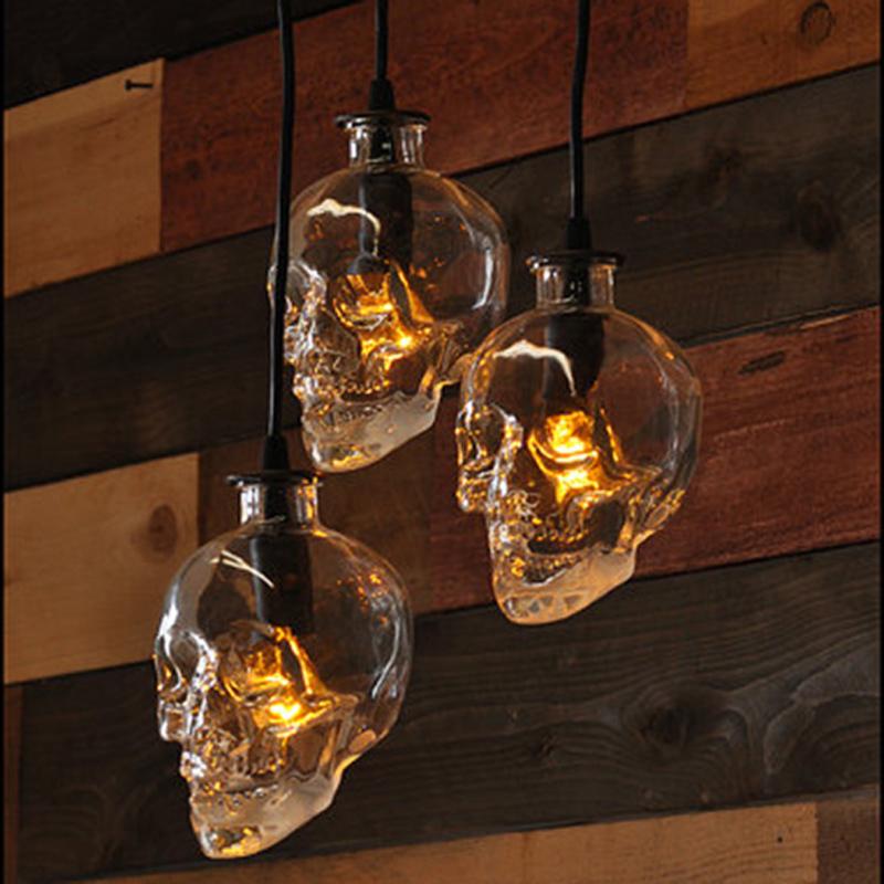 vintage Skull head glass pendant light hanging pendant lamps for art decoration edison pendant lights wholesale